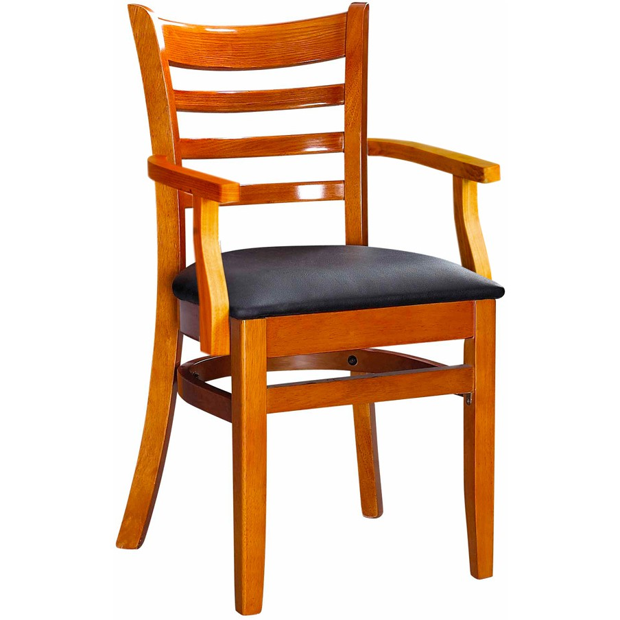 chair with arms yellow desk restaurant arm chairs ladder back wood cherry finish a black vinyl seat