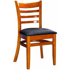 Wooden Chairs Pictures Chair Design Restaurant Wood Ladder Back Cherry Finish With Black Vinyl Seat