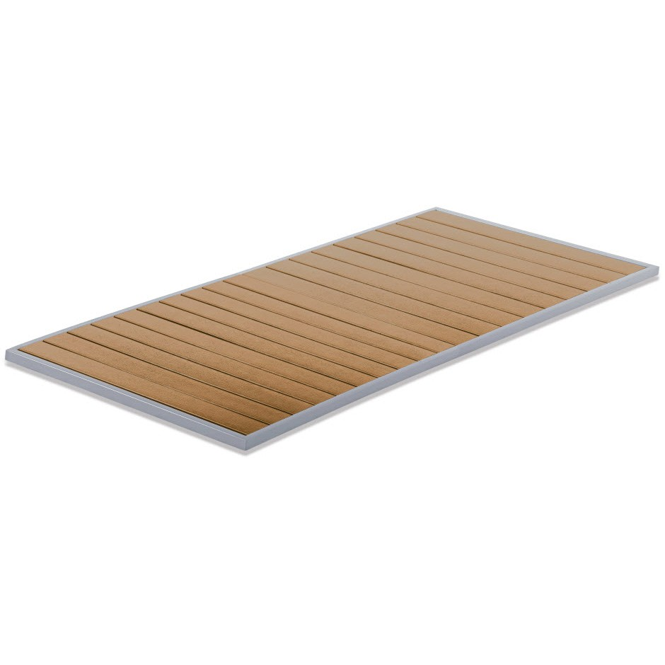 aluminum patio table top with plastic teak slats l