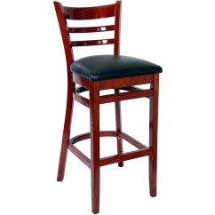 Bar Chairs With Arms And Backs Herman Miller India Ladder Back Wood Stools Stool Mahogany Finish A Black Vinyl Seat