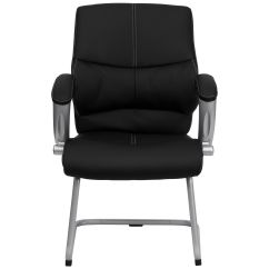 Black Leather Reception Chairs Wood Stump Chair Flash Furniture Executive Side