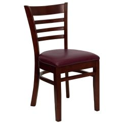 Wooden Restaurant Chairs With Arms Herman Miller Restaurantfurniture4less Wood Mahogany Finished Ladder Back Chair Burgundy Vinyl Seat