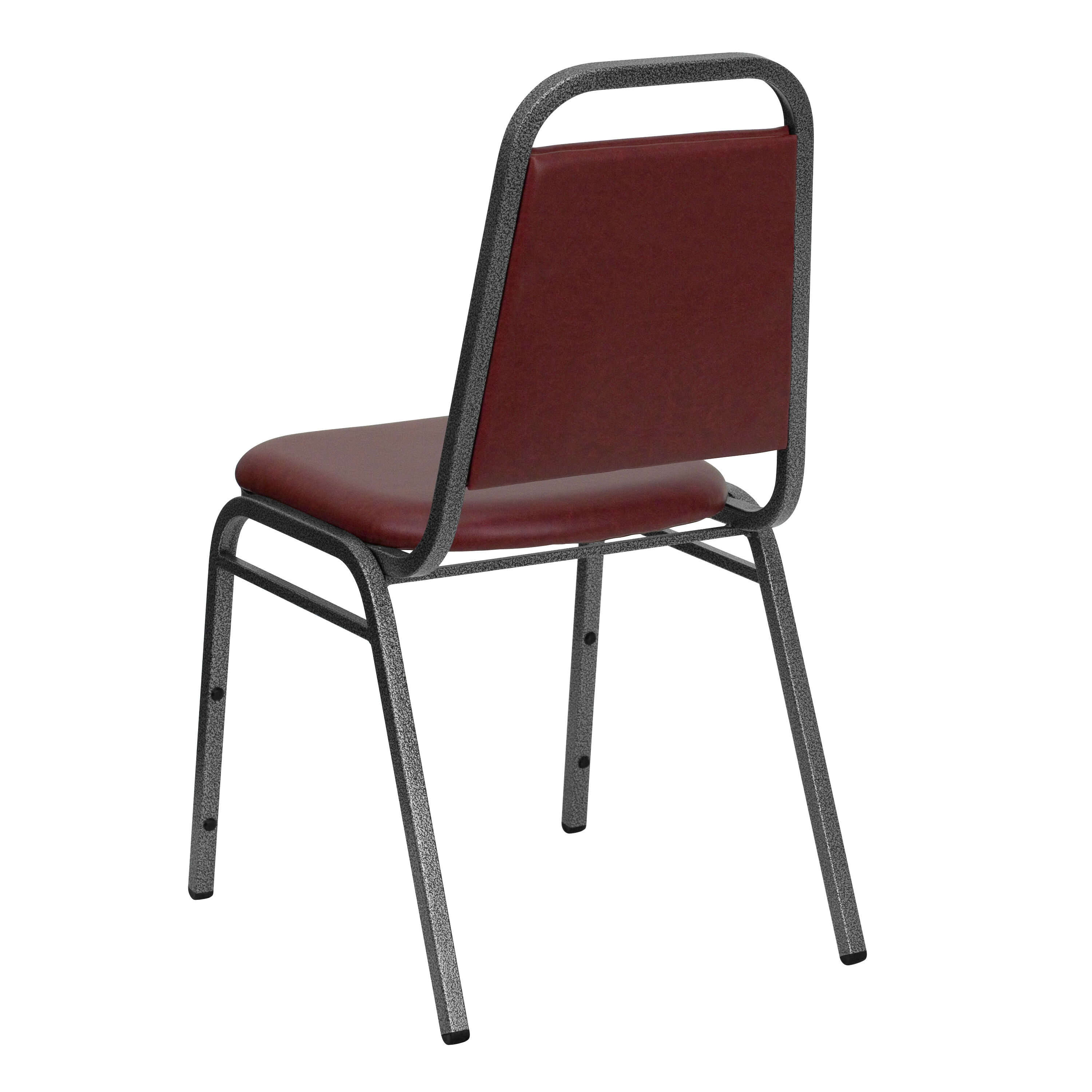 Hercules Series Trapezoidal Back Stacking Banquet Chair In Burgundy Vinyl Silver Vein Frame