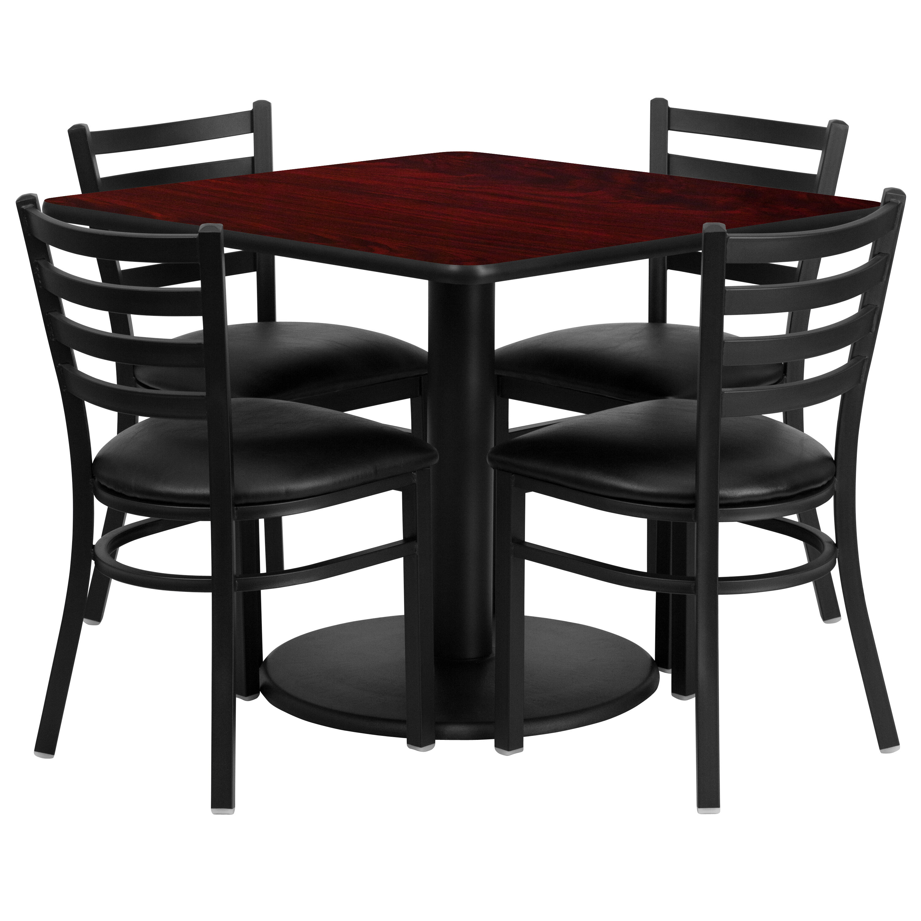 metal chairs and table chair cover rentals montgomery al restaurantfurniture4less restaurant sets 36 square mahogany laminate set with round base 4 ladder back black vinyl seat