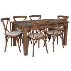 Rustic Farm Table And Chairs Cheap Chair Covers Amazon 60x38 6 Set Xa 19 Gg Restaurantfurniture4less Com
