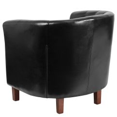 Black Barrel Chair Covers Wholesale Leather Qy B16 Hy 9030 4 Bk Gg