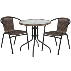 2 Chairs And Table Rattan Posture Plus Ergonomic Office Chair Mesh/fabric 28rd Brown Set W Tlh 087rd 037bn2 Gg Our 28 Round Glass Metal With Dark Edging