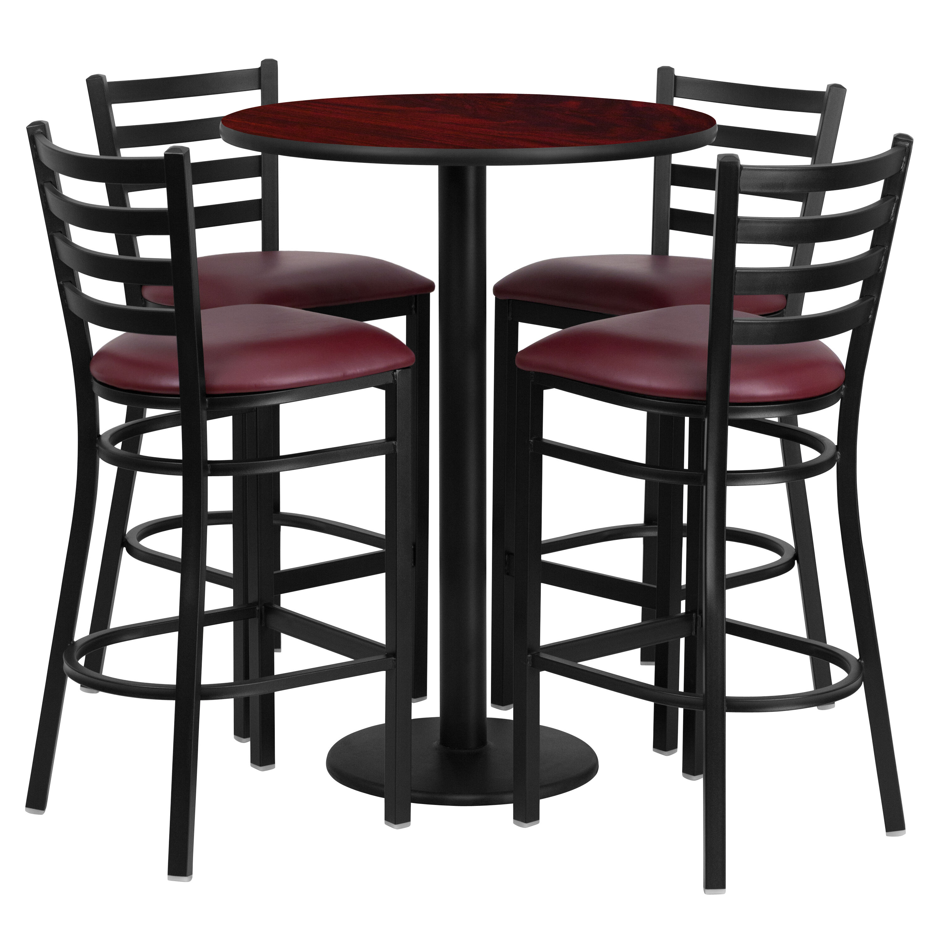 round table and chairs set posture seat singapore restaurantfurniture4less restaurant chair sets 30 mahogany laminate with base 4 ladder back metal barstools burgundy vinyl