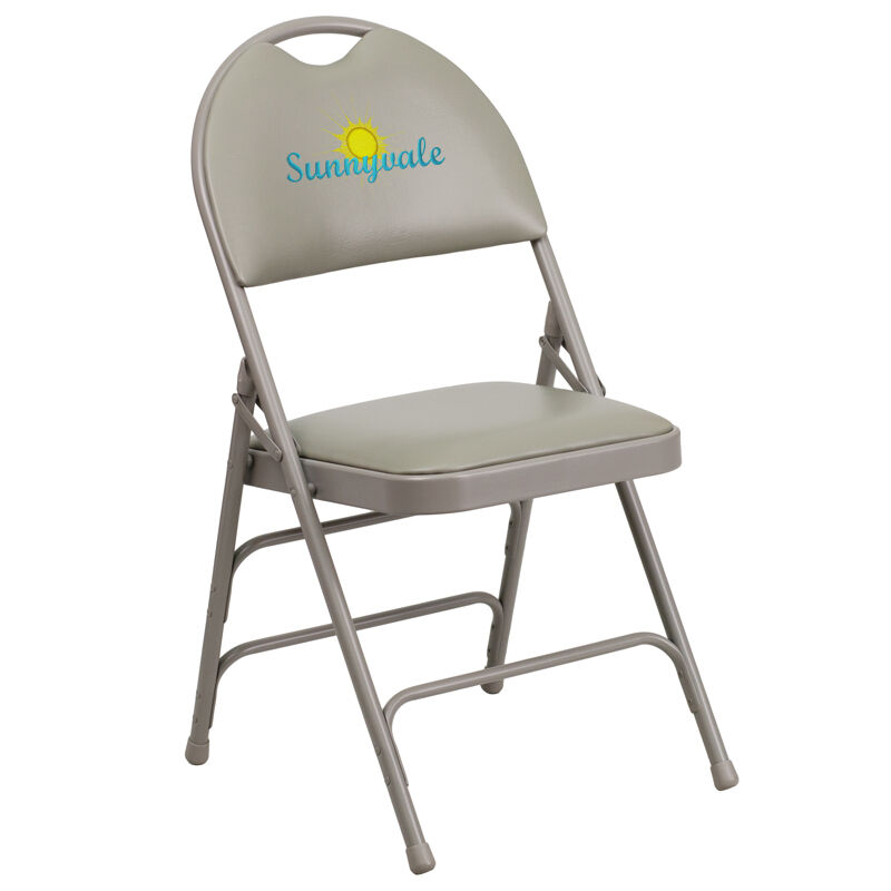 folding chair embroidered covers for a wedding reception gray vinyl ha mc705av 3 gy emb gg our hercules series ultra premium triple braced metal with easy