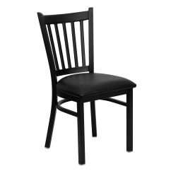 Metal Restaurant Chairs Childrens Folding Table And Chair Set Restaurantfurniture4less Black Vertical Back With Vinyl Seat