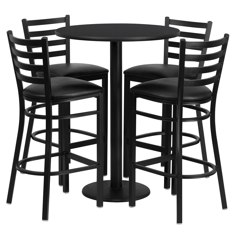 black table and chairs revolving chair nilkamal restaurantfurniture4less restaurant sets 30 round laminate set with base 4 ladder back metal barstools vinyl seat