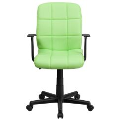 Quilted Swivel Chair Stickley Brothers Rocking Green Mid Back Task Go 1691 1 A Gg