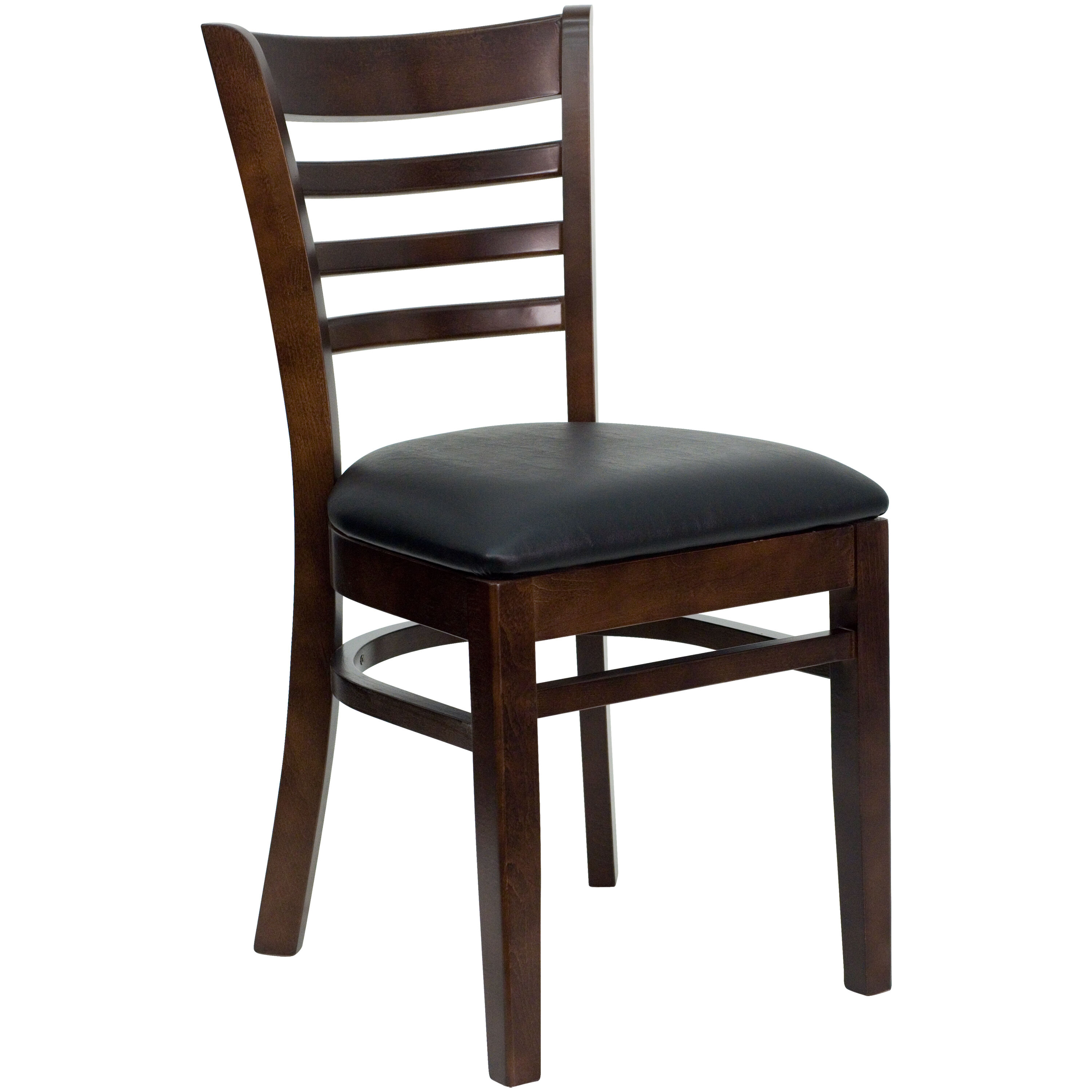 wooden restaurant chairs with arms unfinished restaurantfurniture4less wood walnut finished ladder back chair black vinyl seat