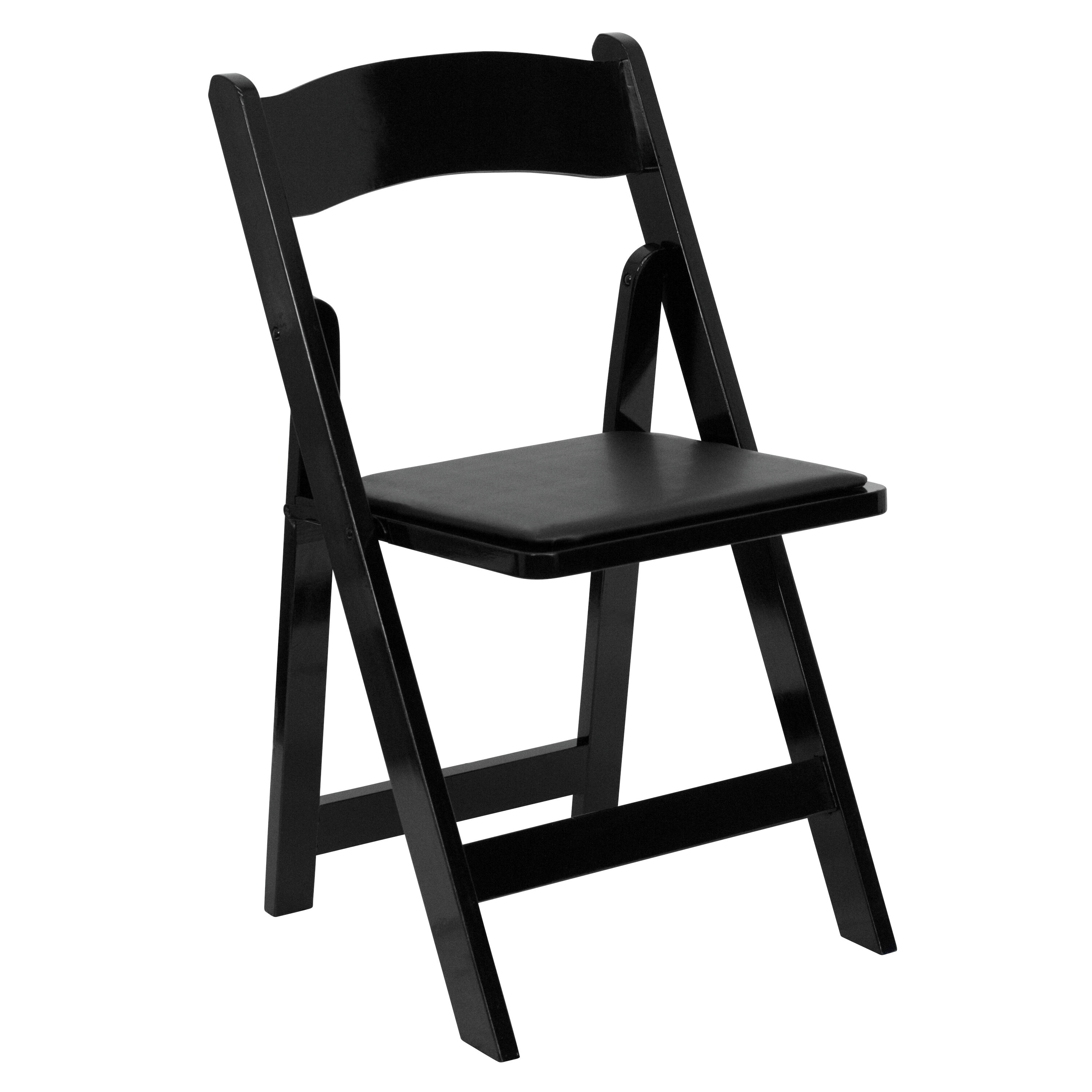 folding chair vinyl padded black floor with back support philippines wood xf 2902 bk gg