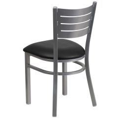 Restaurant Chairs For Less Swing Chair Uae Silver Slat Black Seat Bfdh 90412 Slv Bk Tdr