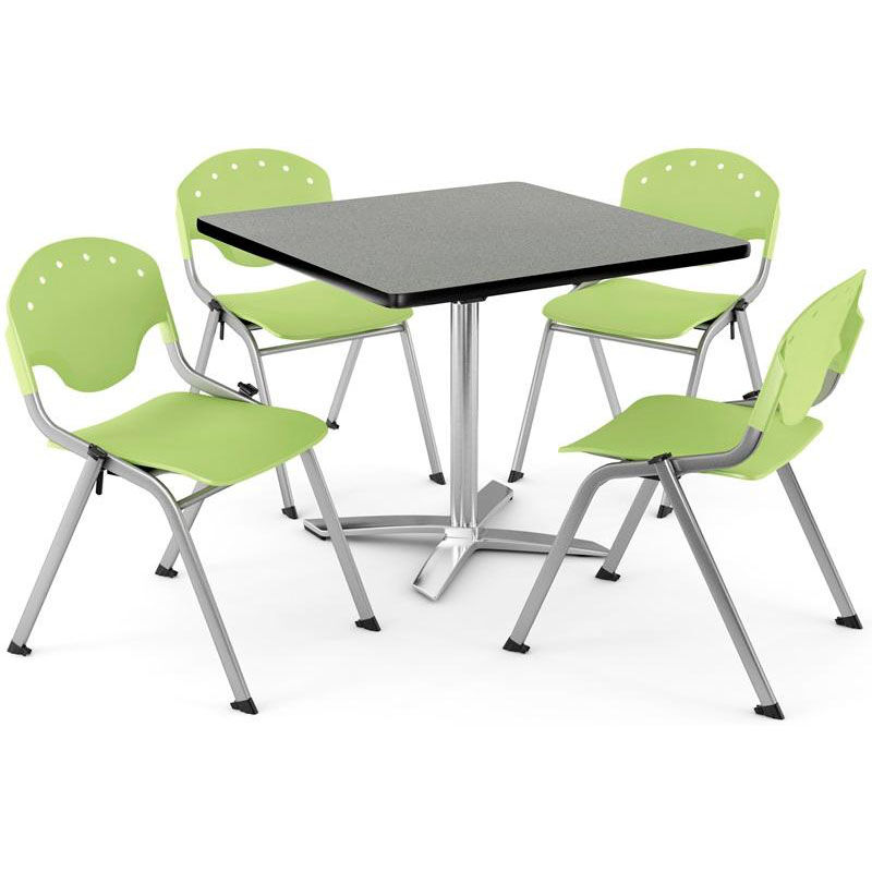 lime green bistro chairs sharper image massage chair square table and stack set pkg brk 019 0012