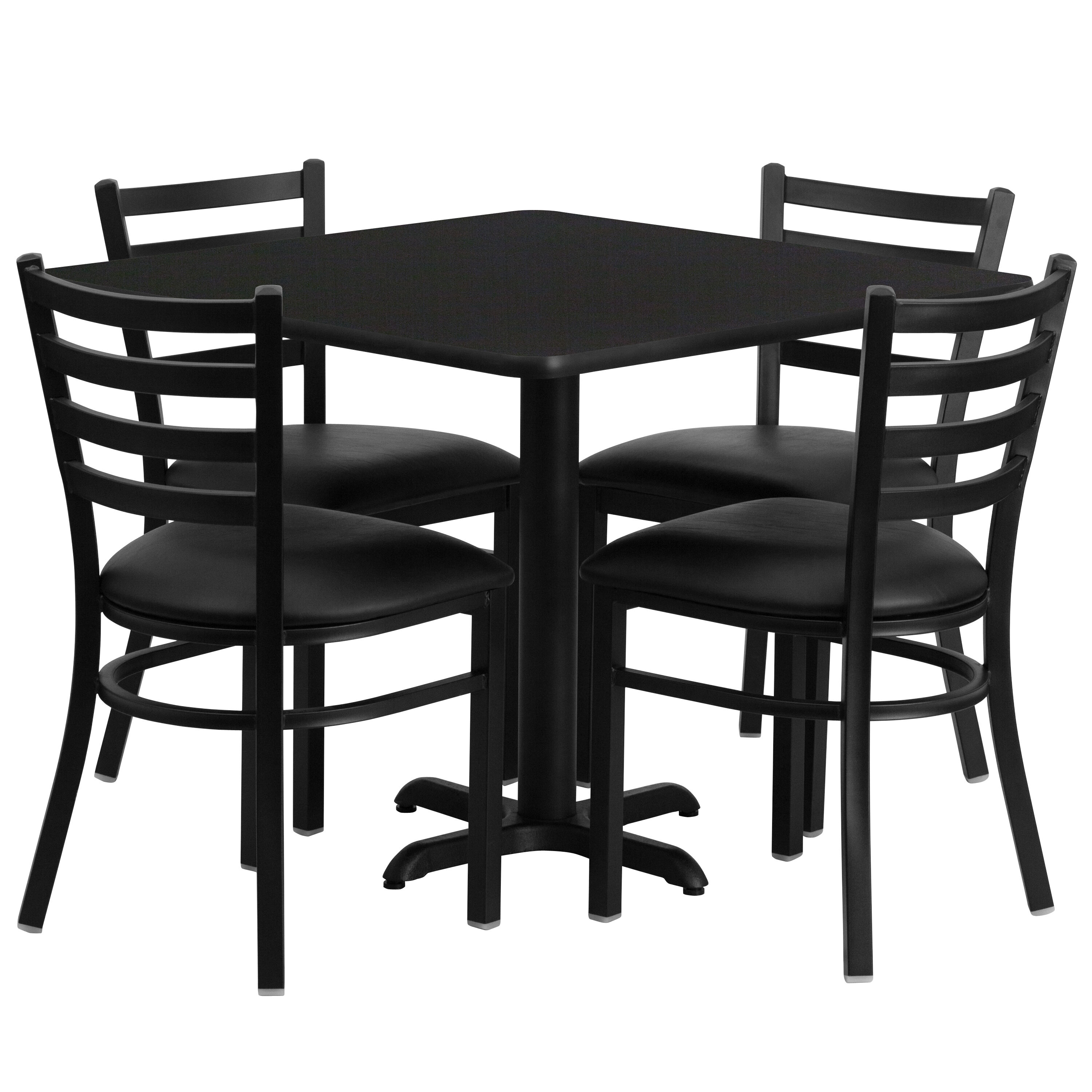 black table and chairs wicker porch chair cushions restaurantfurniture4less restaurant sets 36 square laminate set with x base 4 ladder back metal vinyl seat