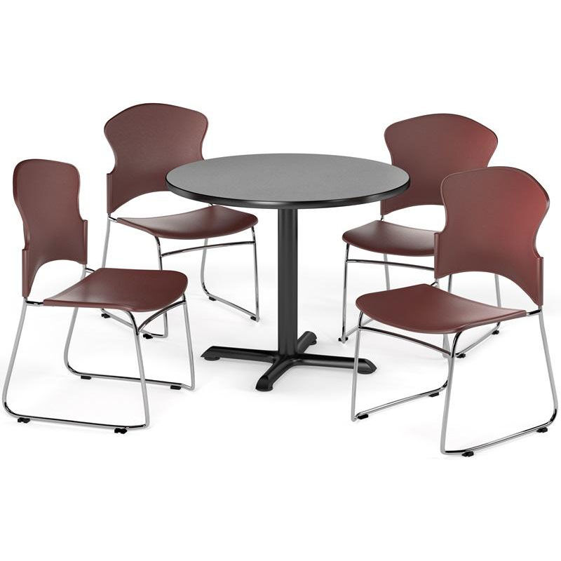 round base chair swivel leather table and stack set pkg brk 035 0007