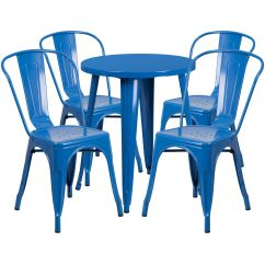 Blue Metal Chairs Chair Cover Bows How To Tie 24rd Table Set Ch 51080th 4 18cafe Bl Gg