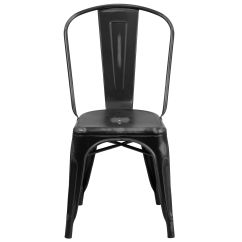 Black Metal Outdoor Chairs Zinger Chair Accessories Distressed Et 3534 Bk Gg