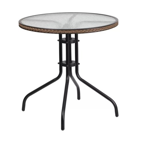 Restaurant Round Tempered Glass Metal Table 28.75""