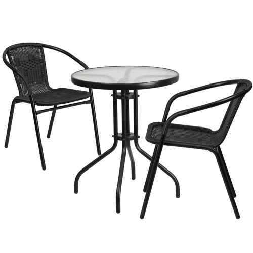 "Restaurant Glass Metal Table 23.75"" Round with 2 Black Stackable Rattan Chair"