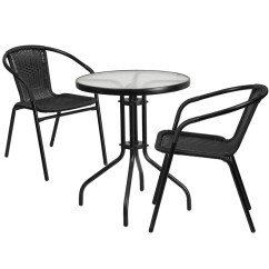 2 Chairs And Table Rattan Grey Chair Covers Restaurant Glass Metal 23 75 Round With Black Stackable