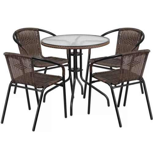 """Restaurant Glass Metal Table 28"""" Round with 4 Brown Stackable Rattan Chairs"""