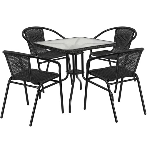 "Restaurant Glass Metal Table 28"" Square with 4 Black Stackable Rattan Chairs"