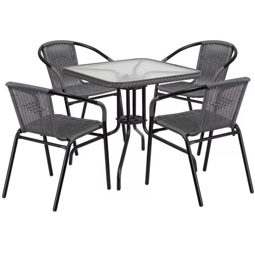 "Restaurant Glass Metal Table 28"" Square with 4 Gray Stackable Rattan Chairs"