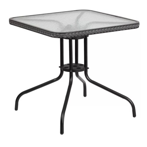 Restaurant Round Tempered Glass Metal Table 28 X 28 Square