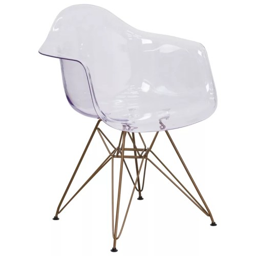 Curved Transparent Arm Chair