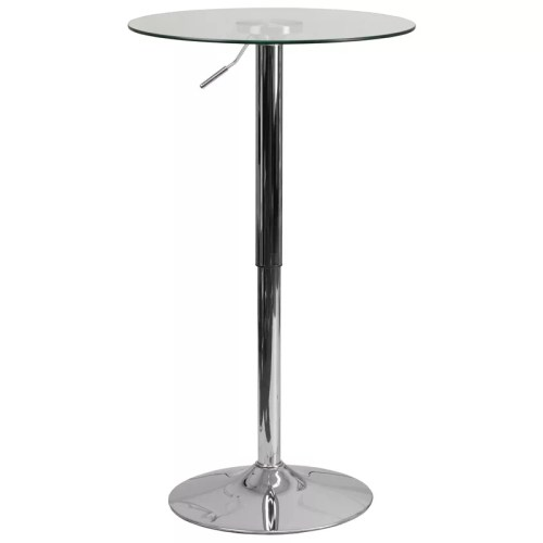 Round Glass Cocktail Table with Adjustable Frame
