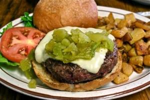 Green chile cheeseburger at Bobcat Bite's