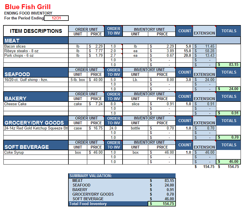 Choose from different designs and get pdf that fit your needs and will help you organize your kitchen food inventory. Inventory Count Sheet