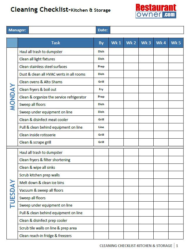 Restaurant Bathroom Cleaning Checklist Template Brightpulse Us