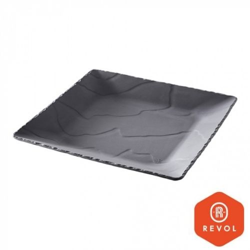Serveringsfat porselen - 28x28cm - svart
