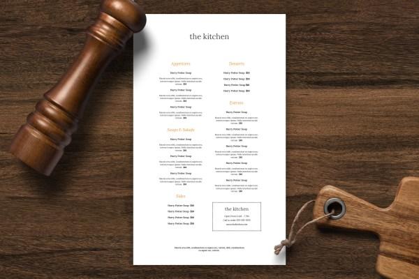Single sided menu template 29
