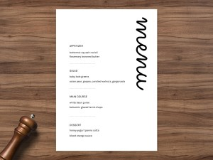 Simple event, wedding menu