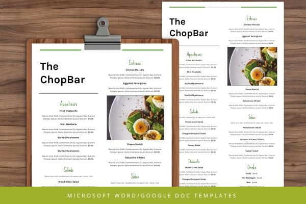 Restaurant Menu Template - Google Docs - Ms Word