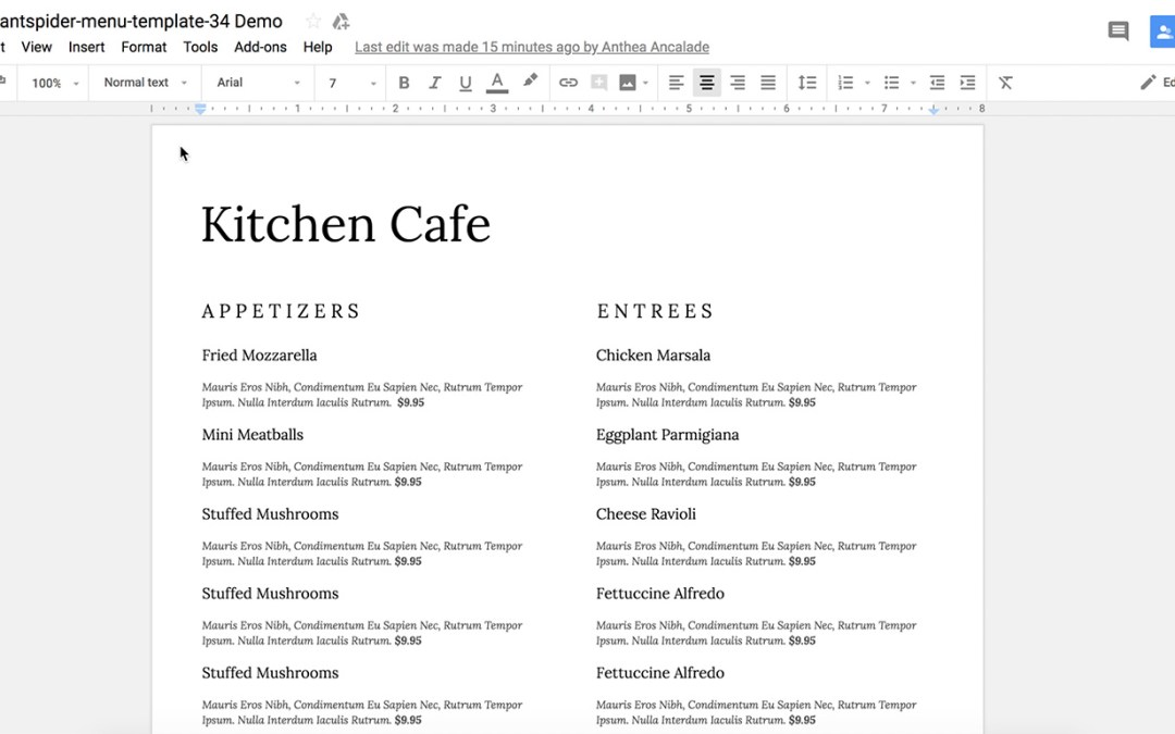 How to add fonts to your Google Doc Restaurant Menu