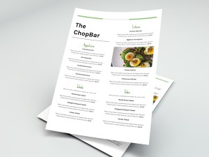 Single sided menu template - 8.5 x 11
