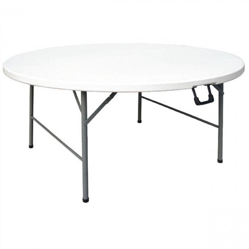 Bolero Round Centre Folding Table White 5ft (Single)