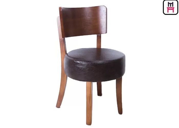 Round Leather Padded Armless Dining Chair  Dark Wood