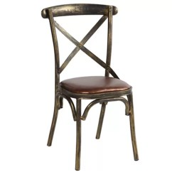 Metal Restaurant Chairs Sling Back Lounge Wood Like X Stylish With Brown Leather Seats