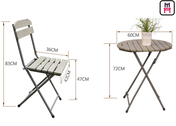 Plastic Wood Folding Patio Dining Table And Chairs , All ...