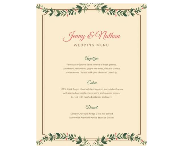 Speisekarten Hochzeit Vorlagen Zum Bearbeiten