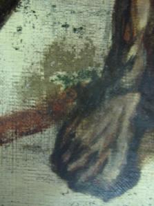 Zone d'usures de la peinture