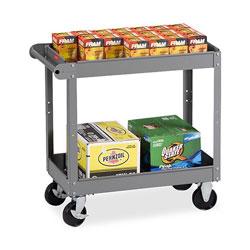 "Tennsco Metal Two Shelf Cart, 16w x 30d x 32h, 5"" Casters, Gray"