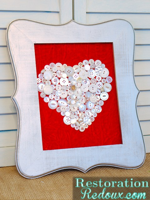 Valentine's Day Button Heart Art | #valentinesday #hearts #craft